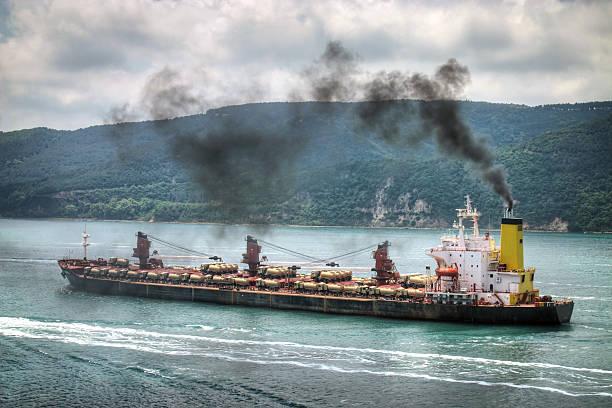 Polluting vessel stock photo