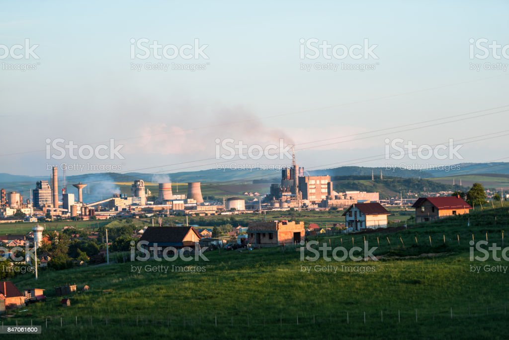 Pollution air from chemical factory stock photo