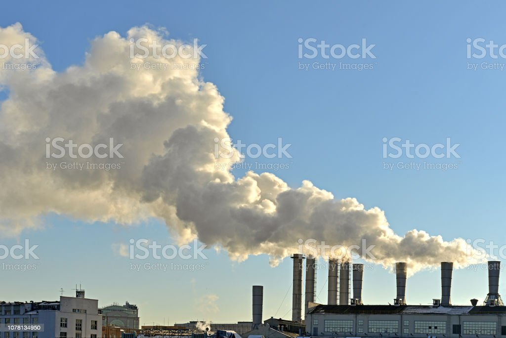 Pollution air. Industrial smoke in city