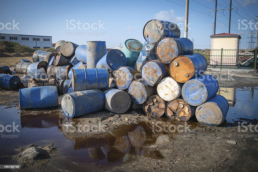 Pollution Chemical Oil Drums royalty-free stock photo
