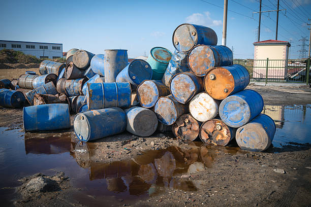 Pollution Chemical Oil Drums stock photo