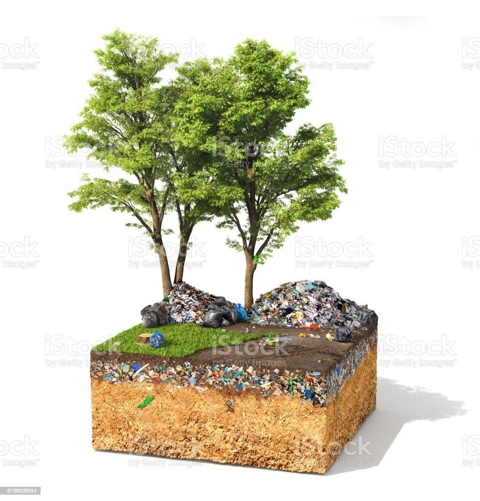 Verontreiniging concept. Stuk grond met boom en groen gras vol vuil prullenbak. Ecologie. 3D illustratie foto