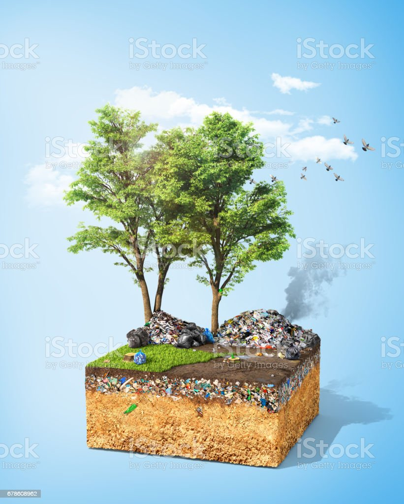 Pollution concept. Piece of ground with tree and green grass full of dirt trash. Ecology. 3d illustration vector art illustration