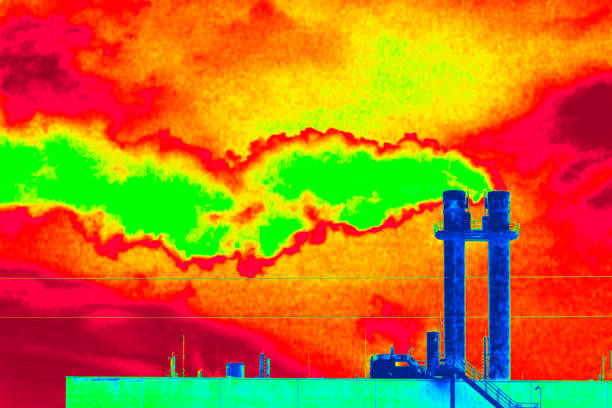 Pollution from burning fossil energy sources stock photo