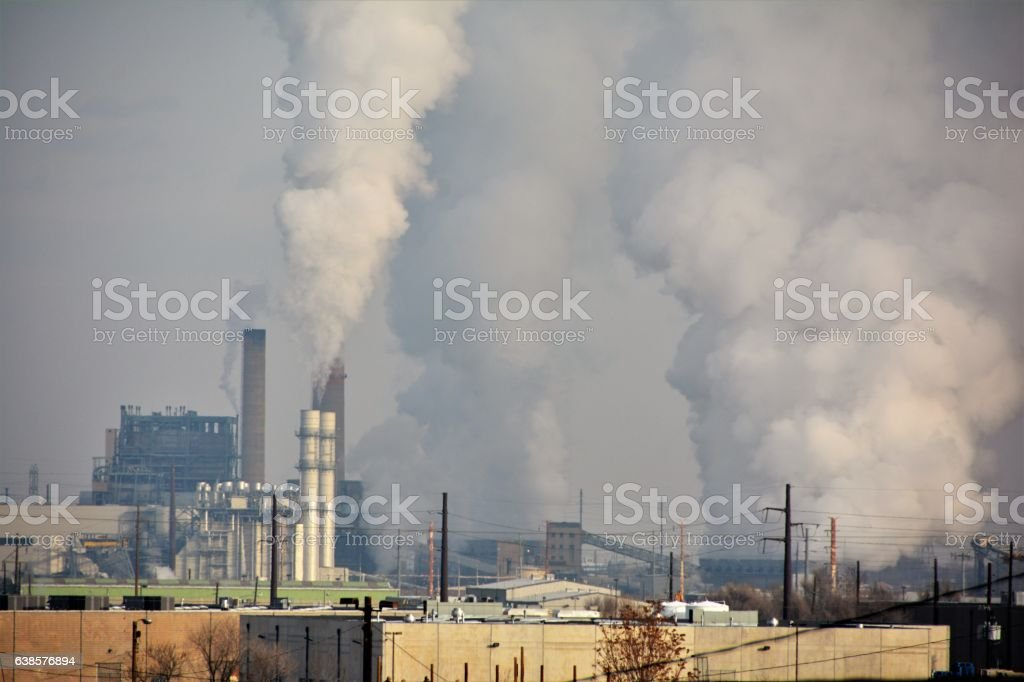 Pollution from Power Plants stock photo