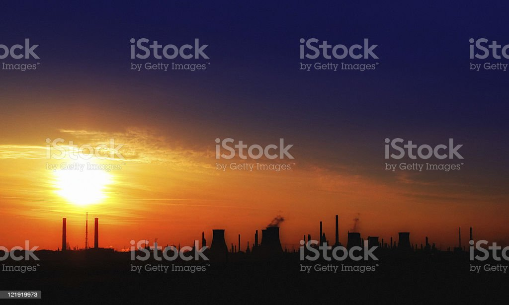 Pollution - gas refinery royalty-free stock photo