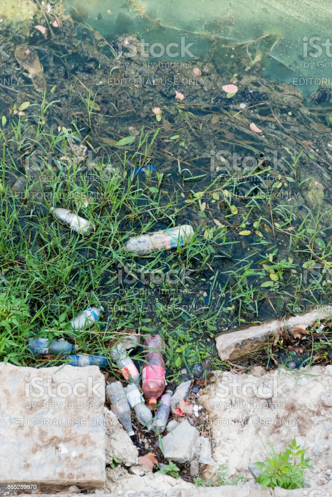 Pollution in Arno River, Florence stock photo