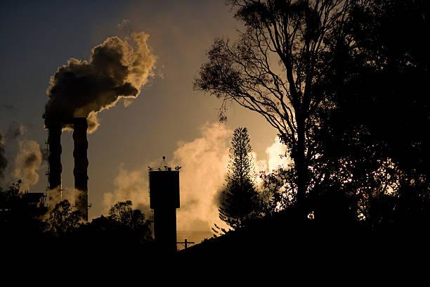 inquinamento in paradiso - zuccherificio foto e immagini stock
