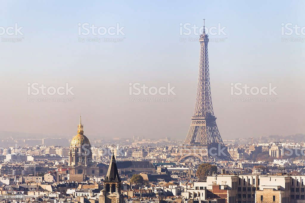 Pollution in Paris, aerial view of Eiffel Tower with smog stock photo