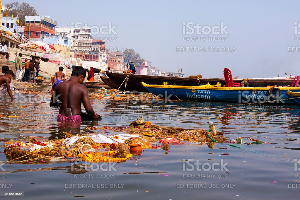 Pollution in River Ganges at Varanasi, India stock photo