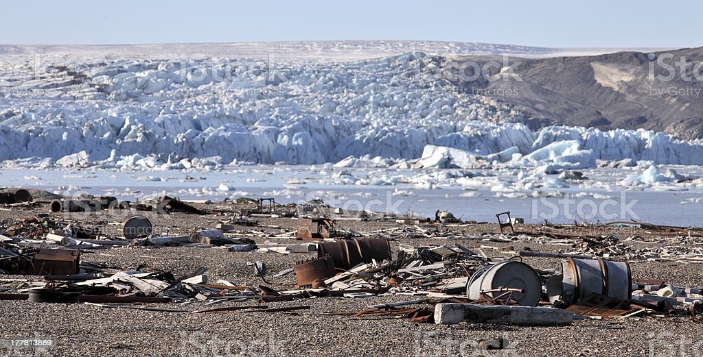 Pollution in the Arctic stock photo