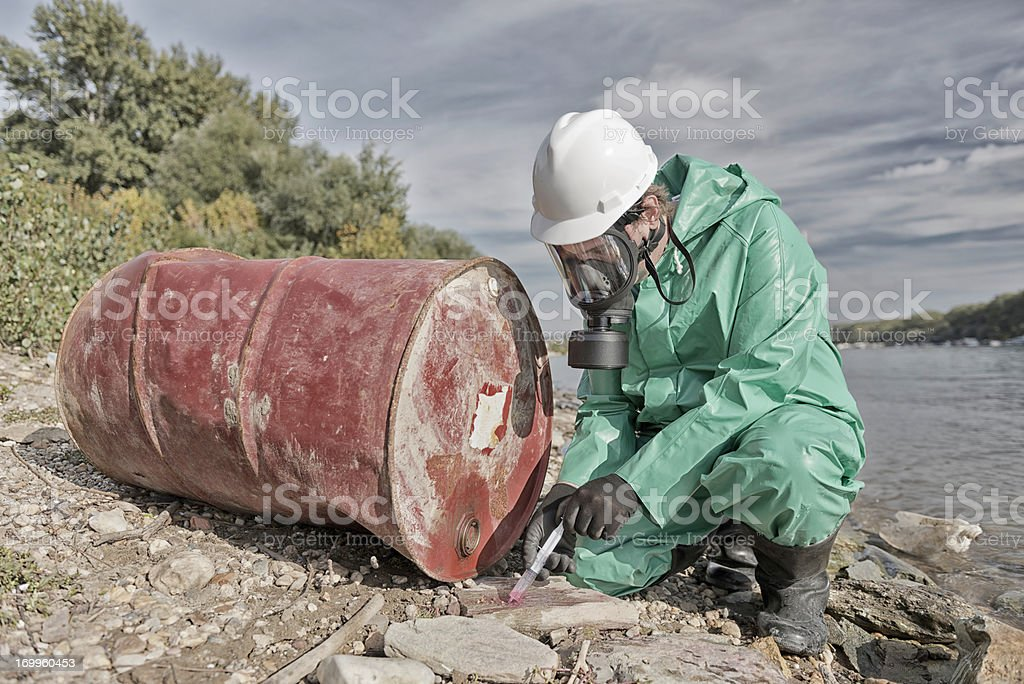 Pollution inspector stock photo