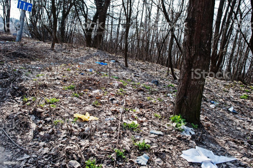 Pollution of nature theme. Garbage at forest near road. stock photo