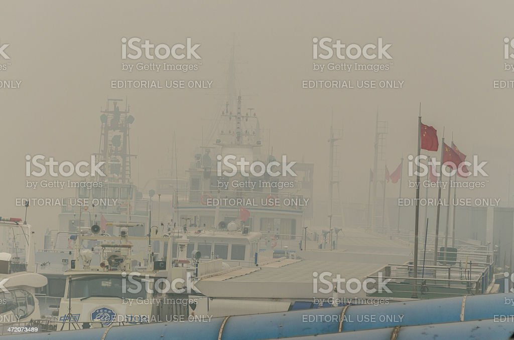 Pollution on the Bund, Shanghai,China royalty-free stock photo