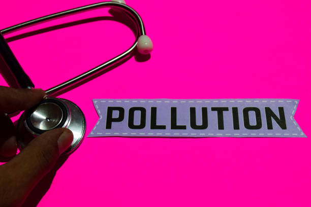 Pollution on the paper with medicare Concept stock photo