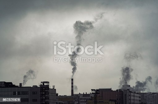 istock Pollution over city, industrial buildings and pollutions during gray day 862325928