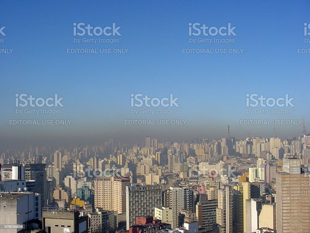Pollution over São Paulo city in winter. stock photo