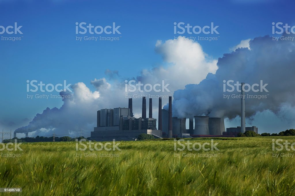 Pollution power plant stock photo