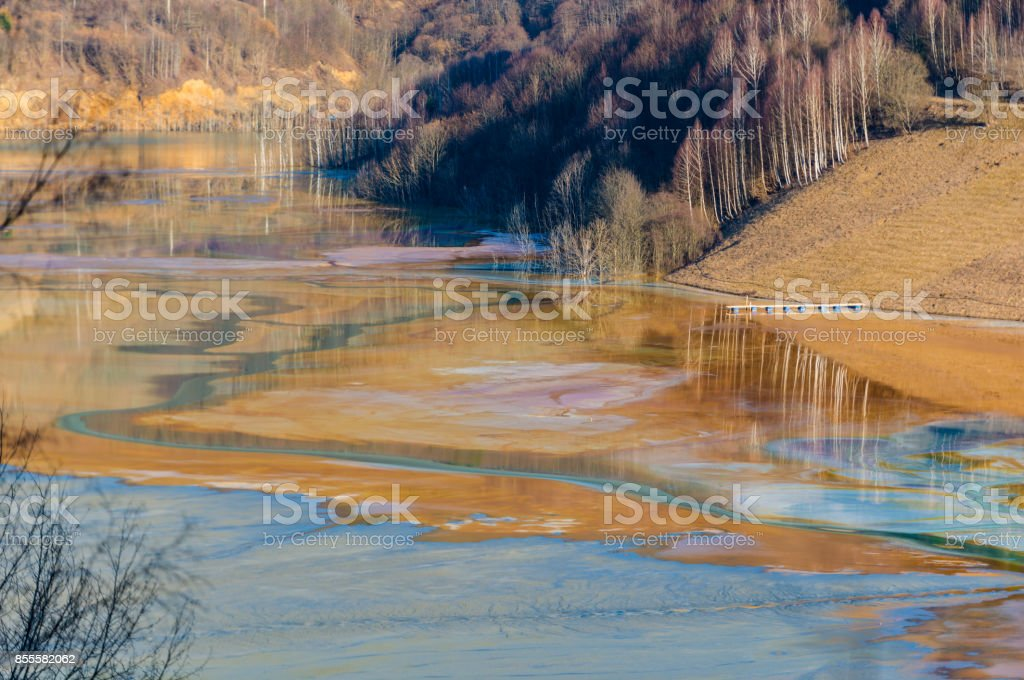 Pollution water with cooper mining residuals, Geamana, Romania stock photo