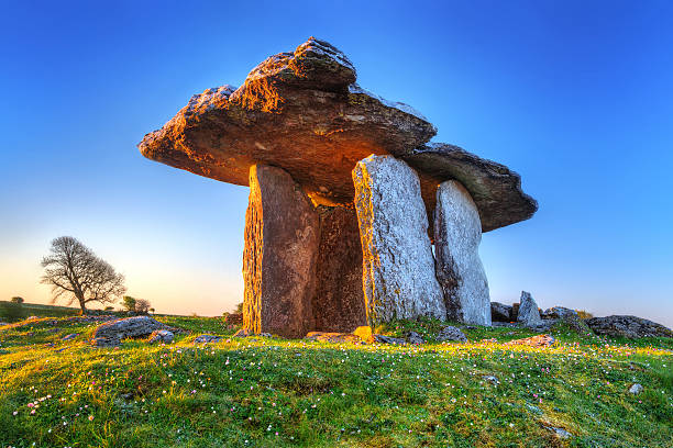 polnabrone dolmen in burren - county clare stock pictures, royalty-free photos & images