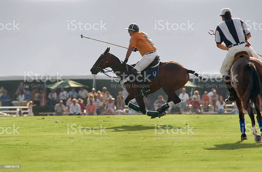 Polo player flying stock photo