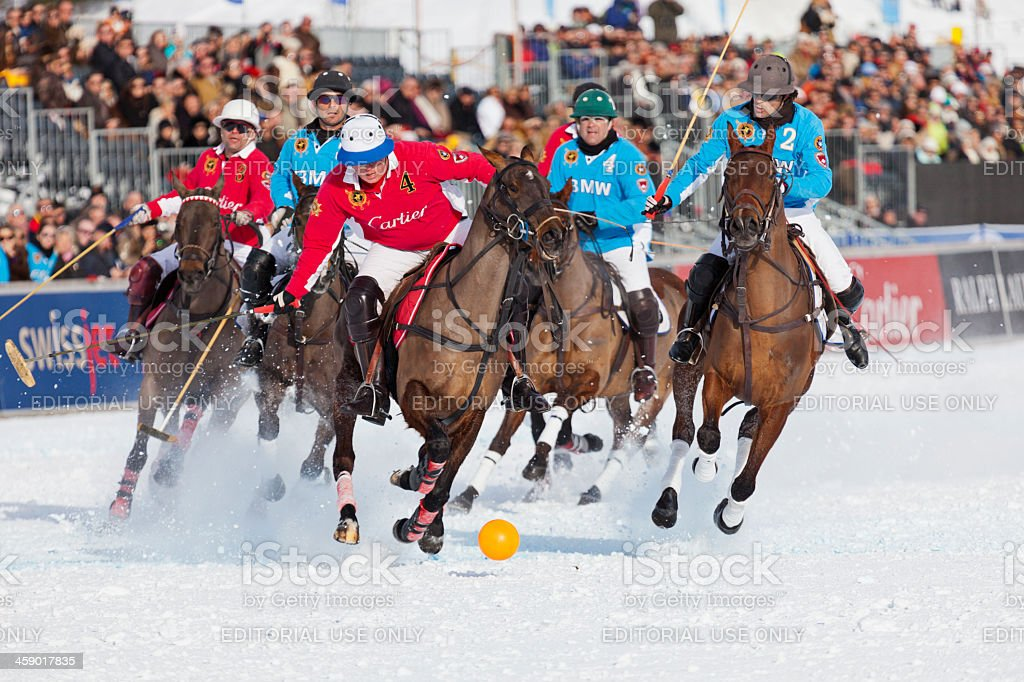 Polo Player Taking a Shot stock photo