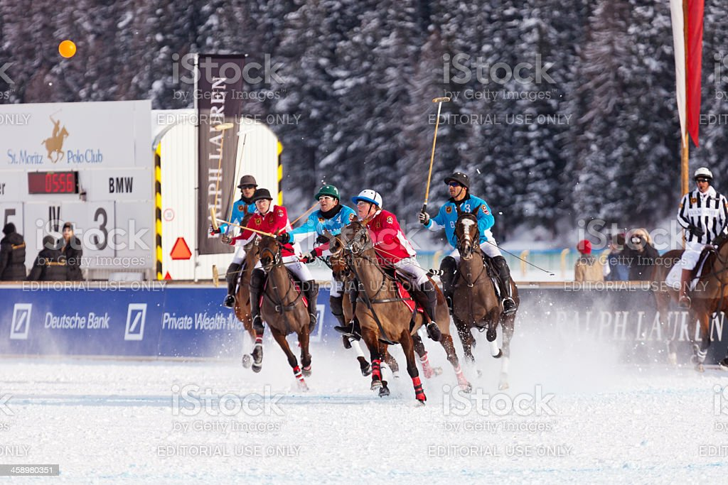 Polo Players Chase after Ball in Air royalty-free stock photo