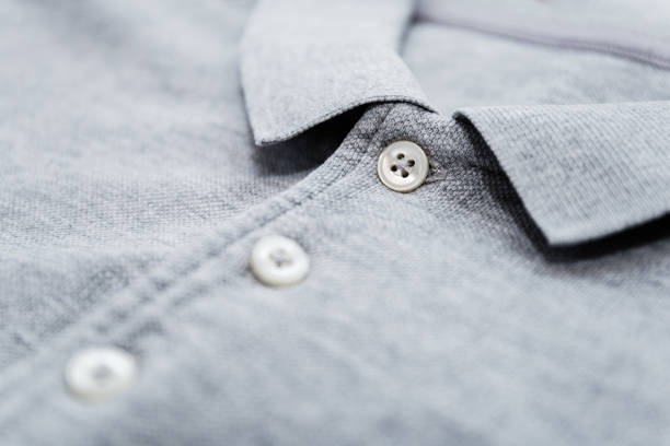 Polo shirt with buttoned collar neck stock photo