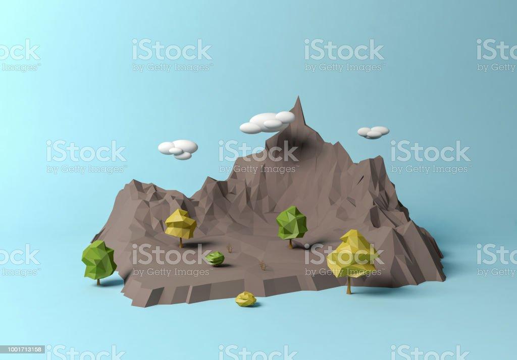 Pologonal Cartoon Berglandschaft – Foto