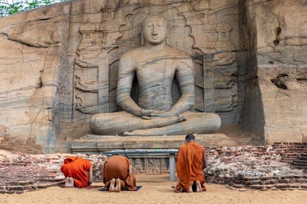 Polonnaruwa. Sri Lanka. Gal Vihara Buddhist Statue. Vertical photo stock photo