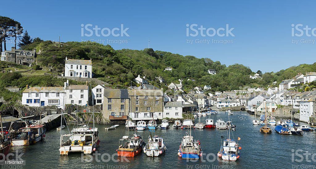 Polperro Fishing Village in Cornwall UK stock photo