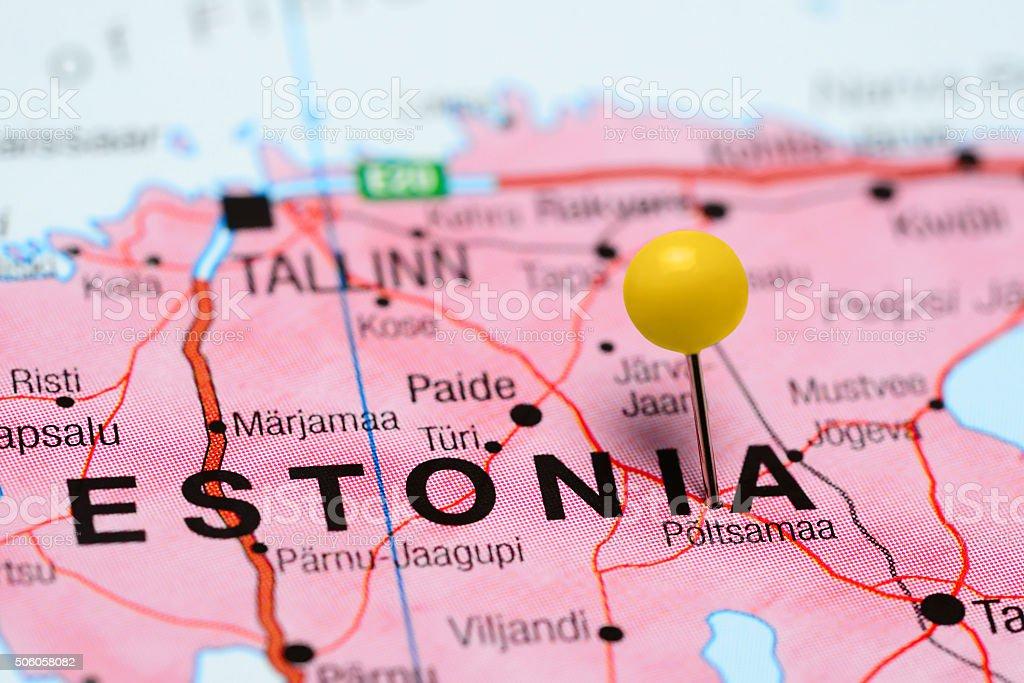 Poltsamaa pinned on a map of Estonia stock photo
