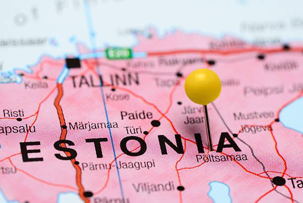 Poltsamaa coincé sur une carte de l'Estonie - Photo