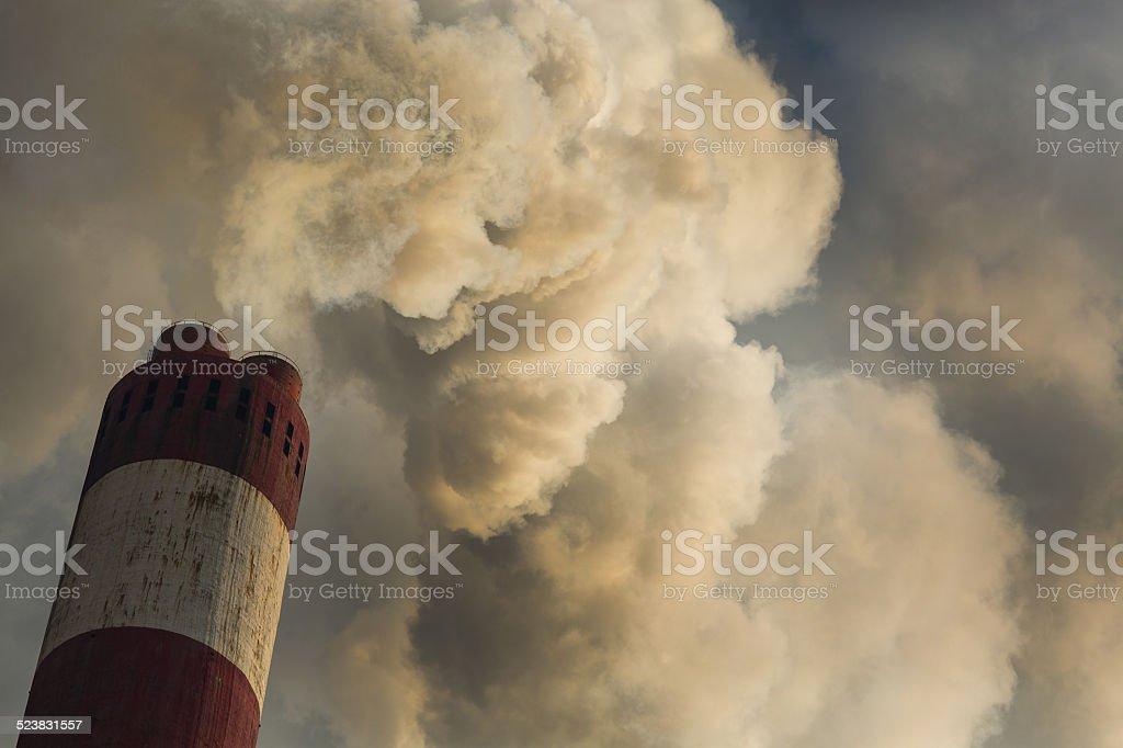 CO2 Polution CO2 Polution chimney Air Pollution Stock Photo