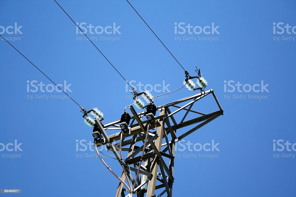 Polwer Lines against a Blue Sky royalty-free stock photo