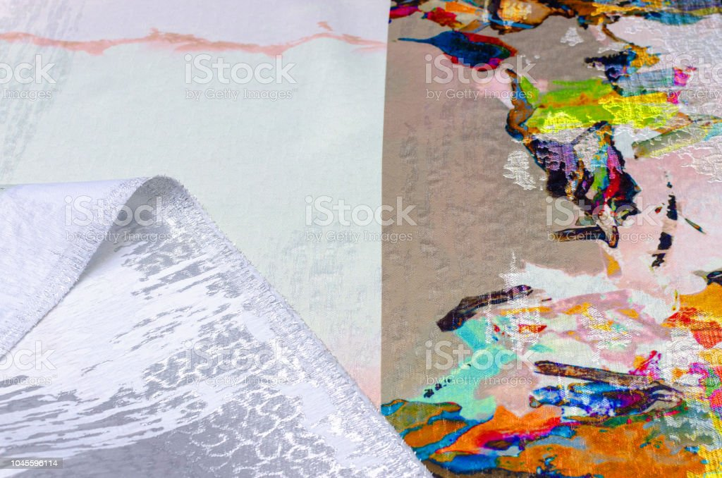 Polyamide fabric, taffeta with lurex, color abstraction stock photo