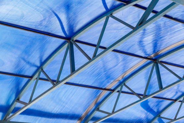 Polycarbonate canopy with metal arc fram stock photo