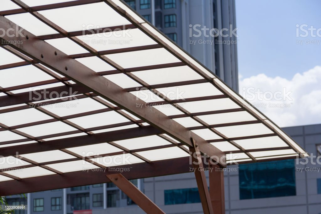 Polycarbonate Roofing Use For House Decoration Car Park Lot Or Out Door Walk Way Path Transparent Roof With Wooden And Brown Steel Structure Stock Photo Download Image Now Istock