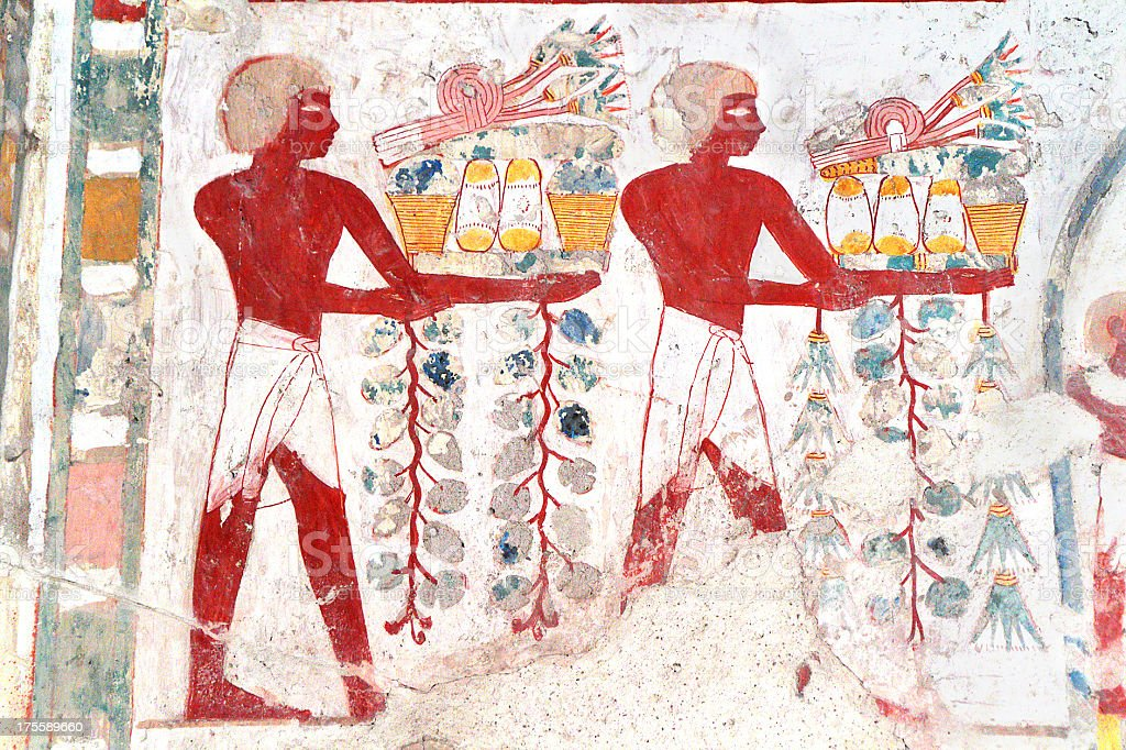 Polychrome Wall Painting, Tomb of Userhat, Theban Necropolis, Luxor, Egypt stock photo