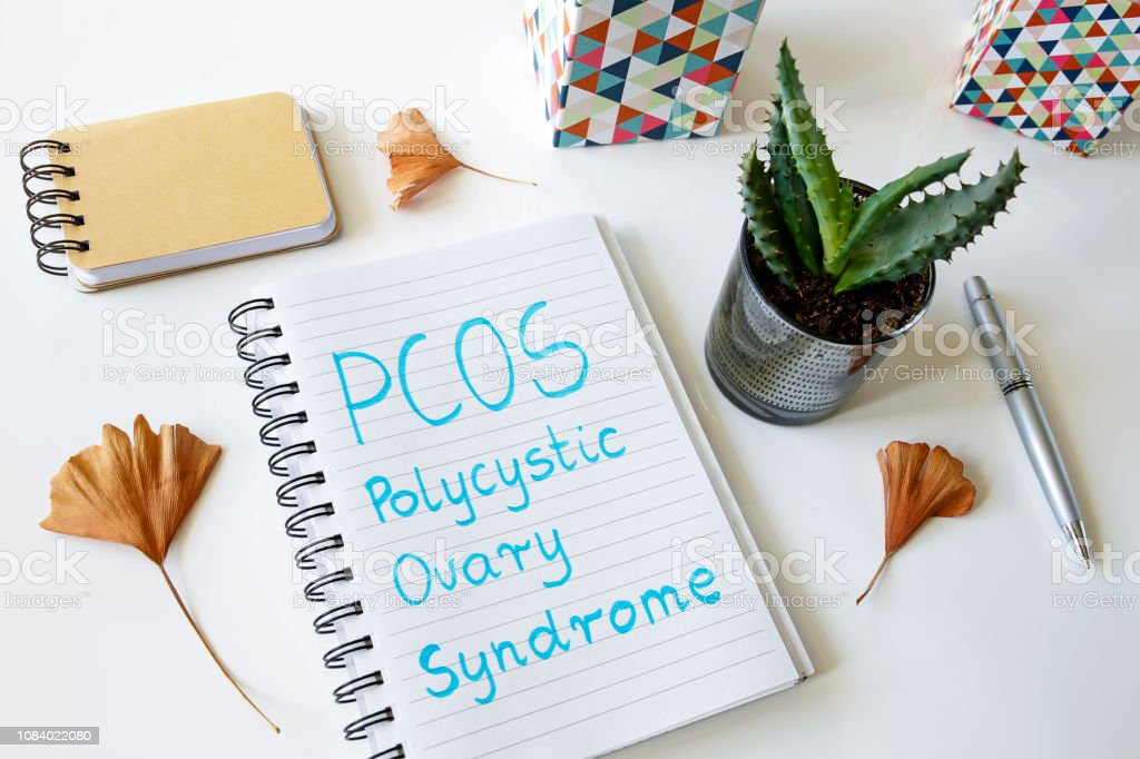 PCOS Polycystic ovary syndrome written in a notebook stock photo