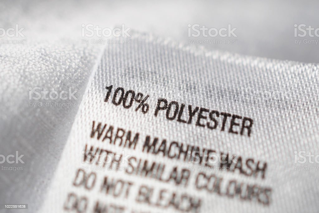 Polyester Fabric Clothing Label With Laundry Instructions Stock