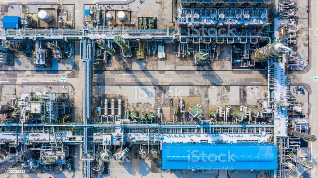Polyethylene plant in the industrial park, Aerial view polyethylene...