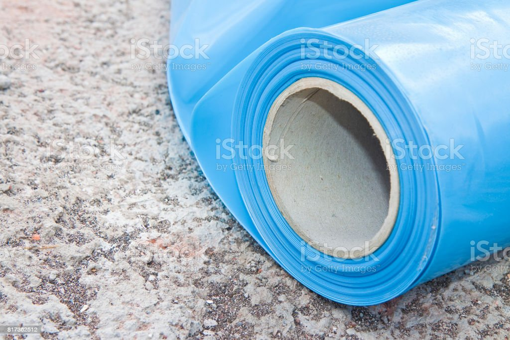 Polyethylene protection vapour barrier used in buildings activity stock photo