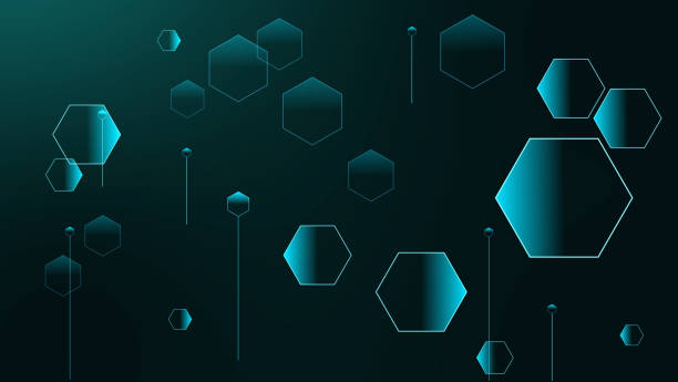 Polygon futuristic relations of small and big hexagons on gradient stock photo