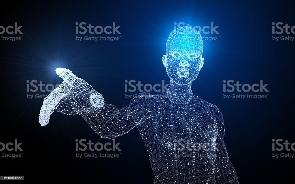Polygon Man Showing Something – Foto