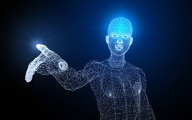 polygon man showing something - human body 3d stock photos and pictures