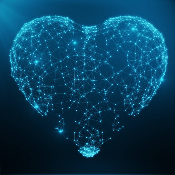 Polygonal Abstract Heart Concept Consisting of Blue Dots and Lines. Digital Illustration. Polygonal Structure, Triangle structure. Consisting of Points and Lines Forming Heart Shape, 3D rendering stock photo