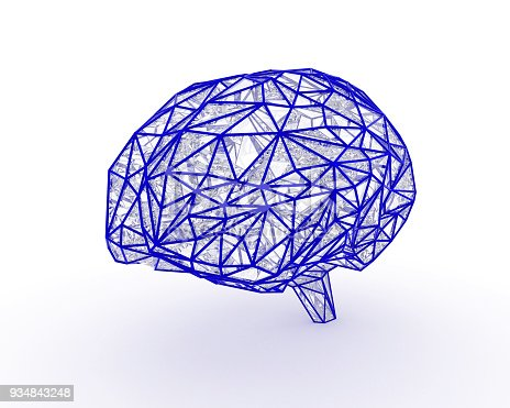istock Polygonal brain shape with glowing lines and dots. 934843248