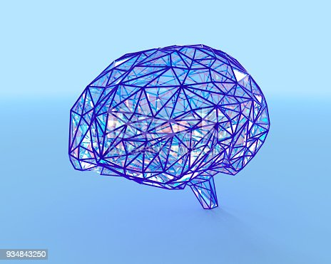 istock Polygonal brain shape with glowing lines and dots. 934843250