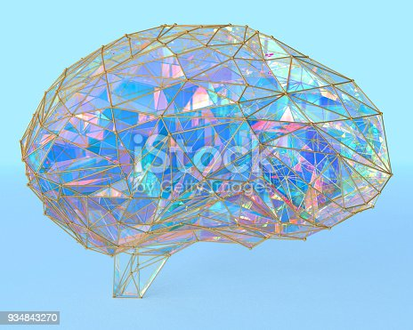 istock Polygonal brain shape with glowing lines and dots. 934843270